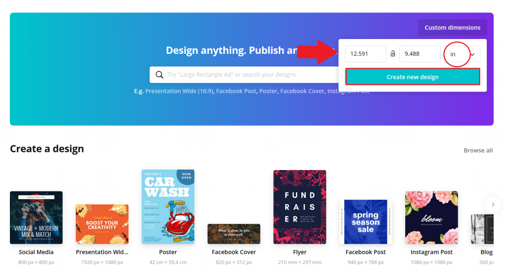 Create a book cover with Canva - selecting dimensions