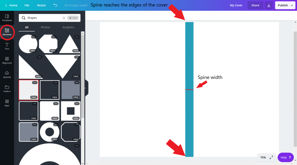 create a book cover with canva - spine width