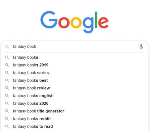 Google search for fantasy books