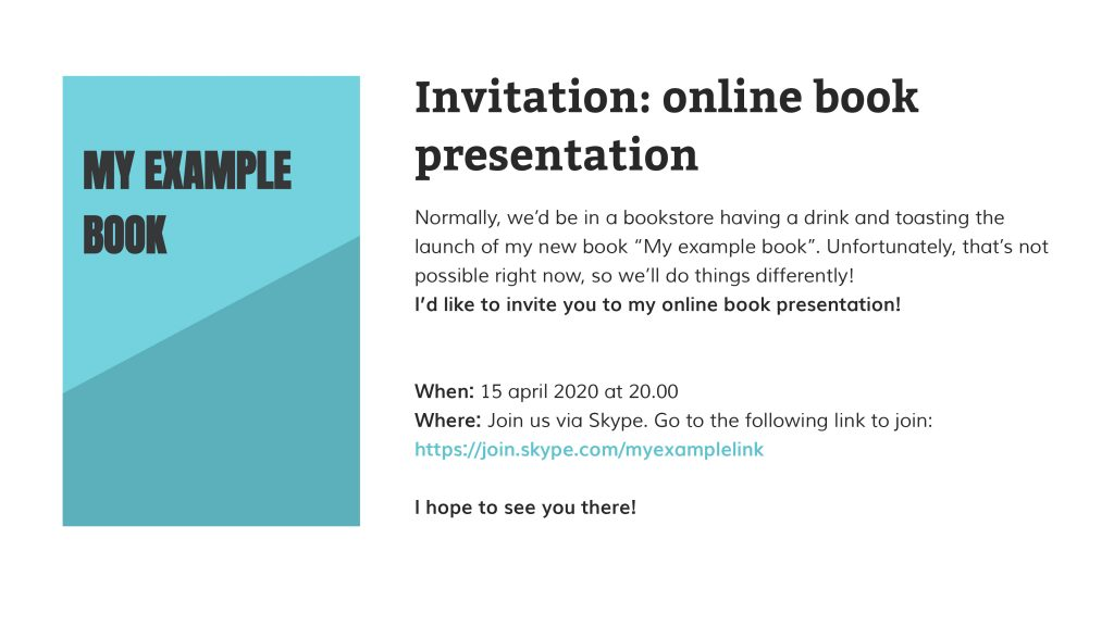 Invitation to online book launch event